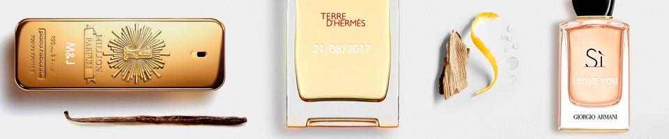 Grabado personalizado en perfumes, productos de maquillaje y cosméticos